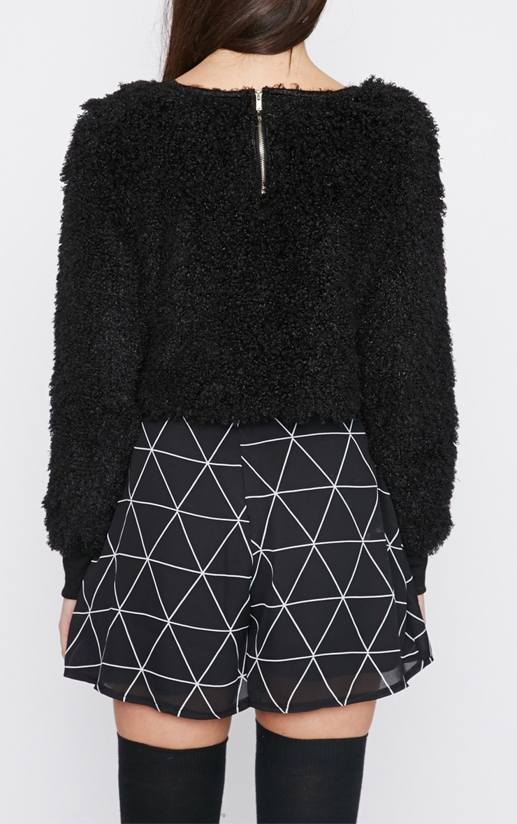 Monia Black Faux Fur Cropped Jumper  2