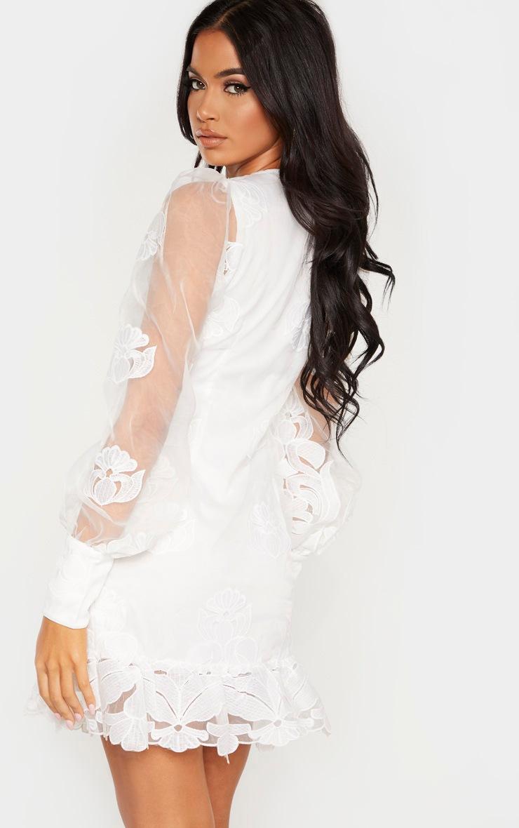 White Lace Floral Plunge Bodycon Dress 2