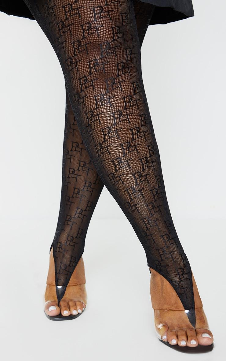 PRETTYLITTLETHING Plus Black Mesh Stirrup Leggings 4