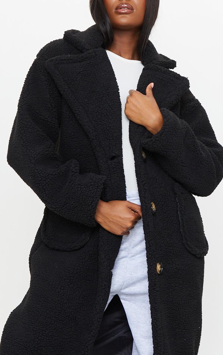 Tall Black Maxi Borg Coat 4