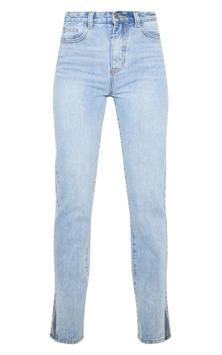 Light Wash Split Hem Jeans 5