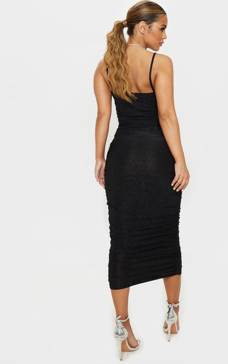 Petite Black Textured Glitter Ruched Midi Dress 2