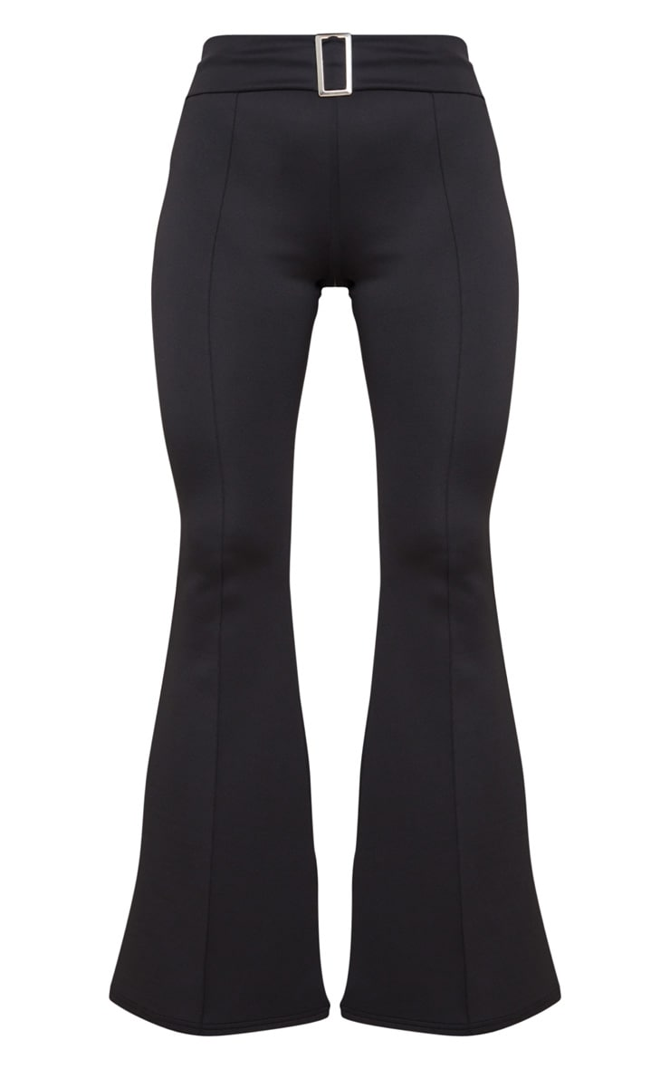 Black Scuba Pintuck Buckle Flared Pants 5