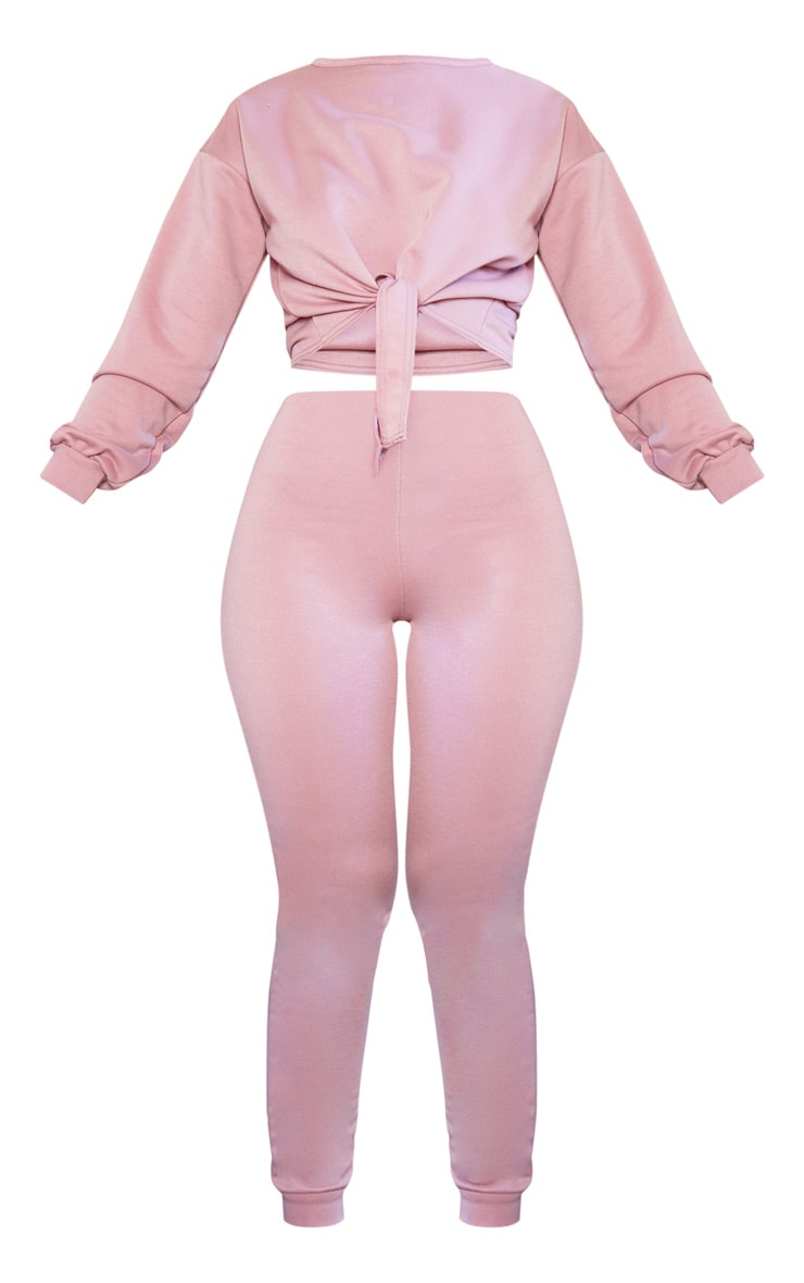 Pink Tie Front Sweater & Jogger Set 4