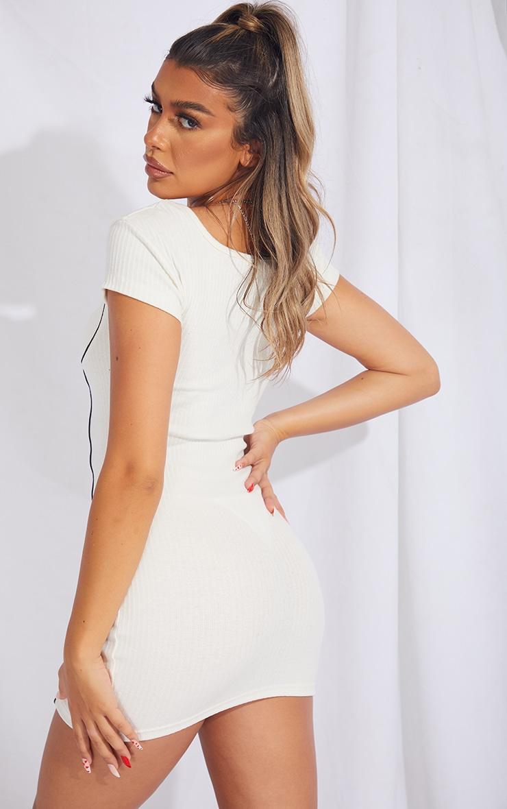 Cream Rib Binding Detail Short Sleeve Bodycon Dress 2