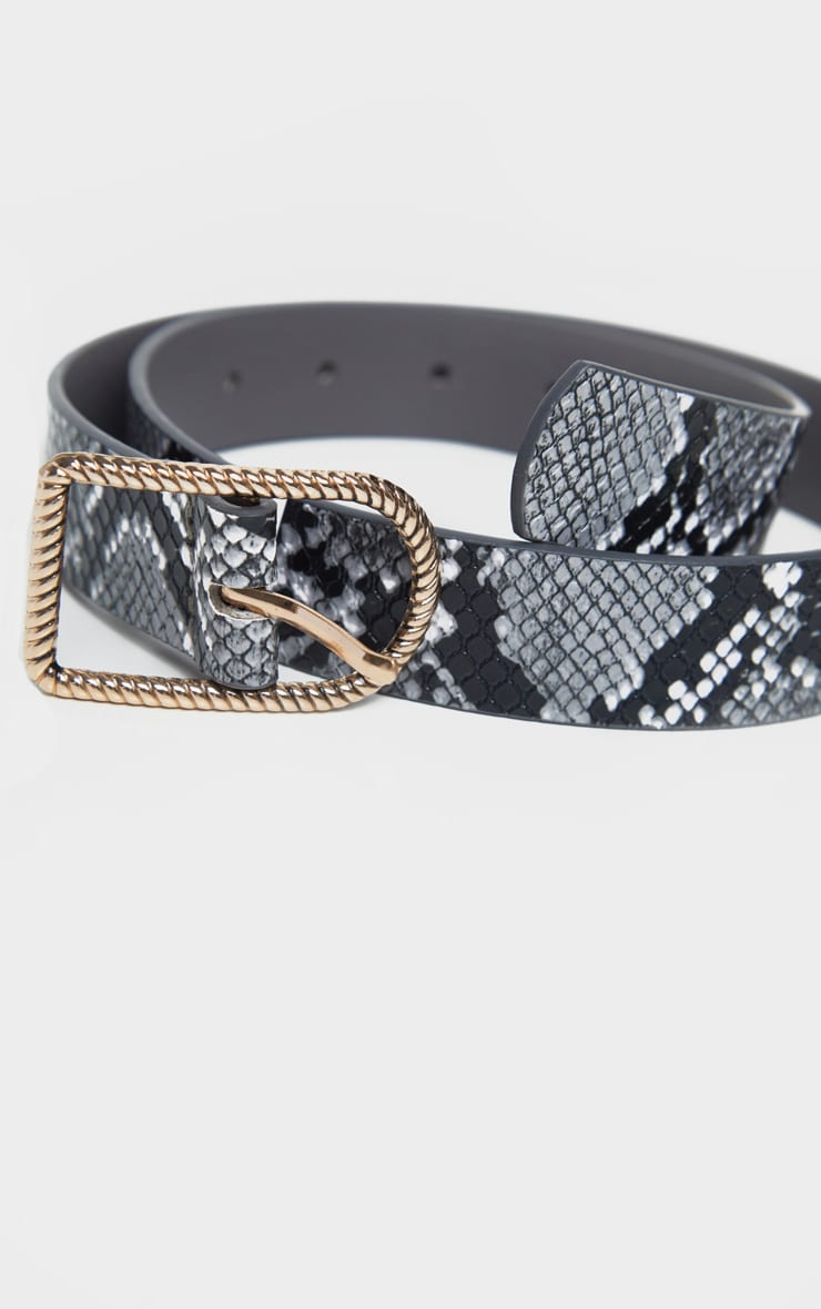 Grey Snake PU Basic Twist Buckle Belt 2