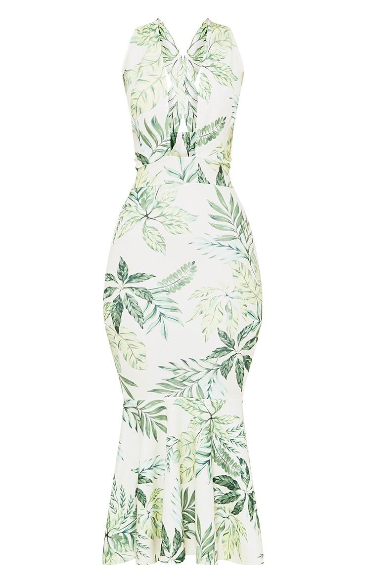 Green Palm Print Plunge Fishtail Midi Dress 3