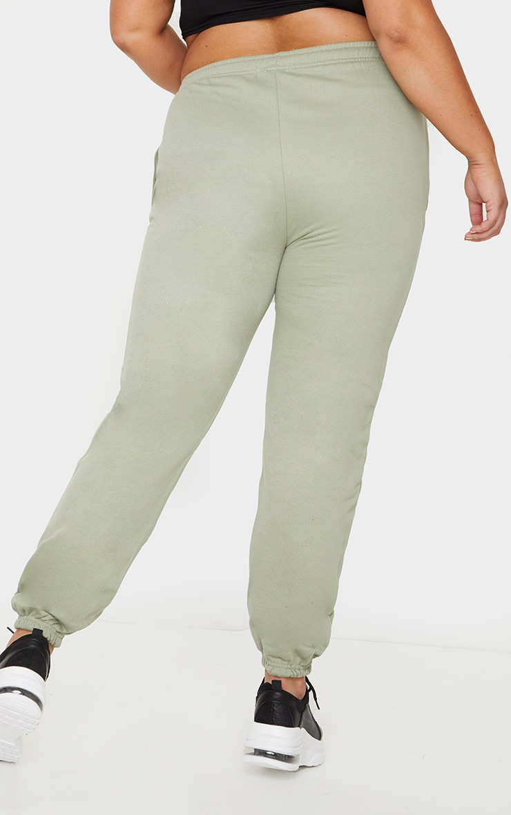 PRETTYLITTLETHING Plus Sage Green Embroidered Jogger 3