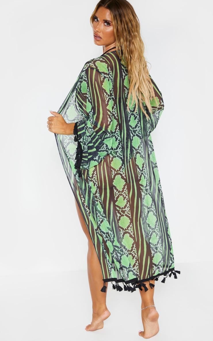 Lime Snake Print Mesh Tassel Kimono 3