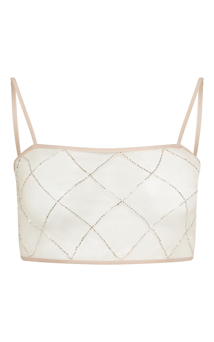 Nude Beaded Grid Beach Top 3