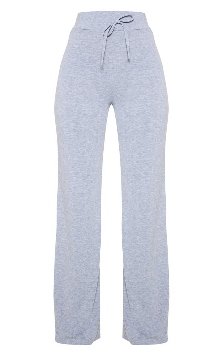 Petite Grey Drawstring Jersey Wide Leg Jogger 3