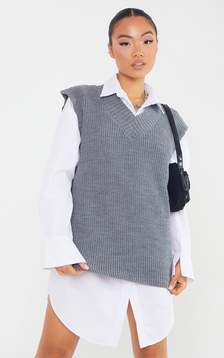 Petite Marl Grey V Neck Knitted Side Split Vest  1