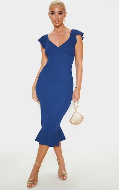 Midnight Blue Frill Hem Short Sleeve Midi Dress