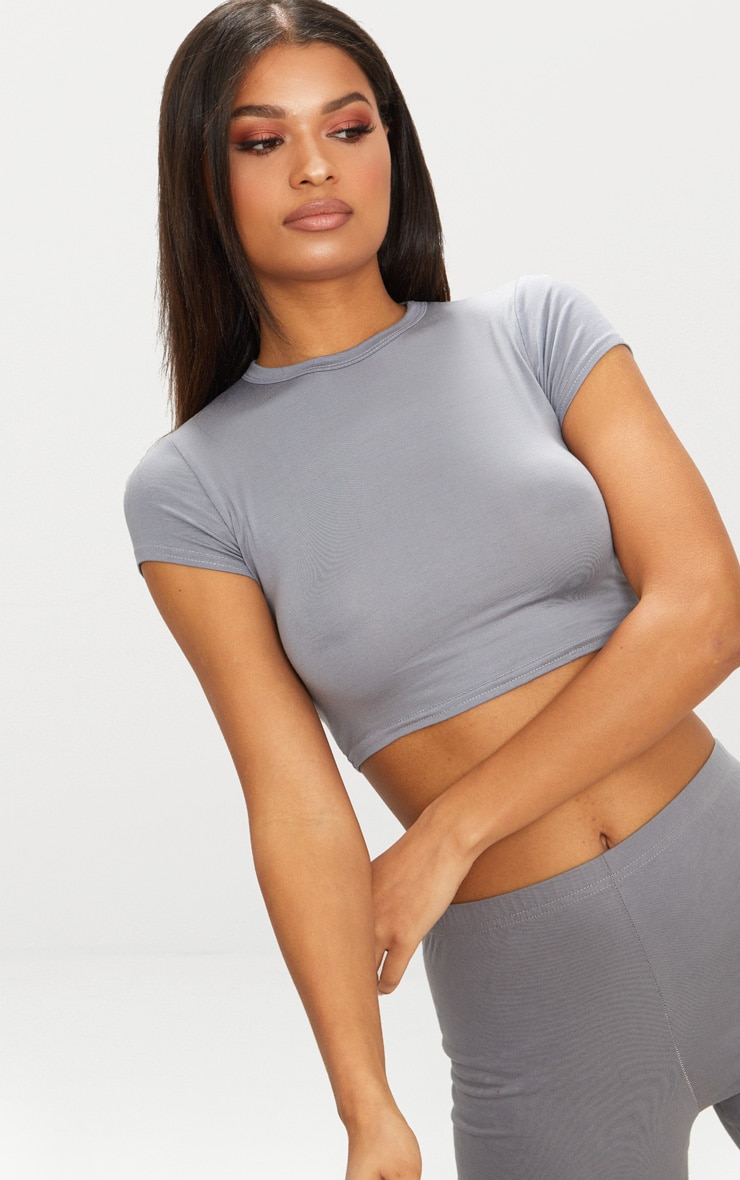 Basic Grey Short Sleeve Crop T Shirt  4