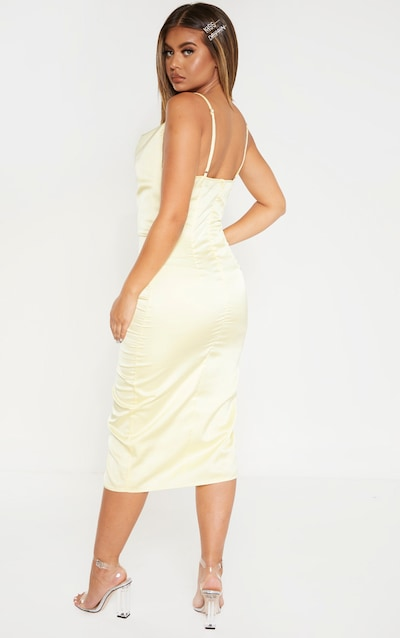 Pale Yellow Strappy Satin Satin Cowl Midi Dress