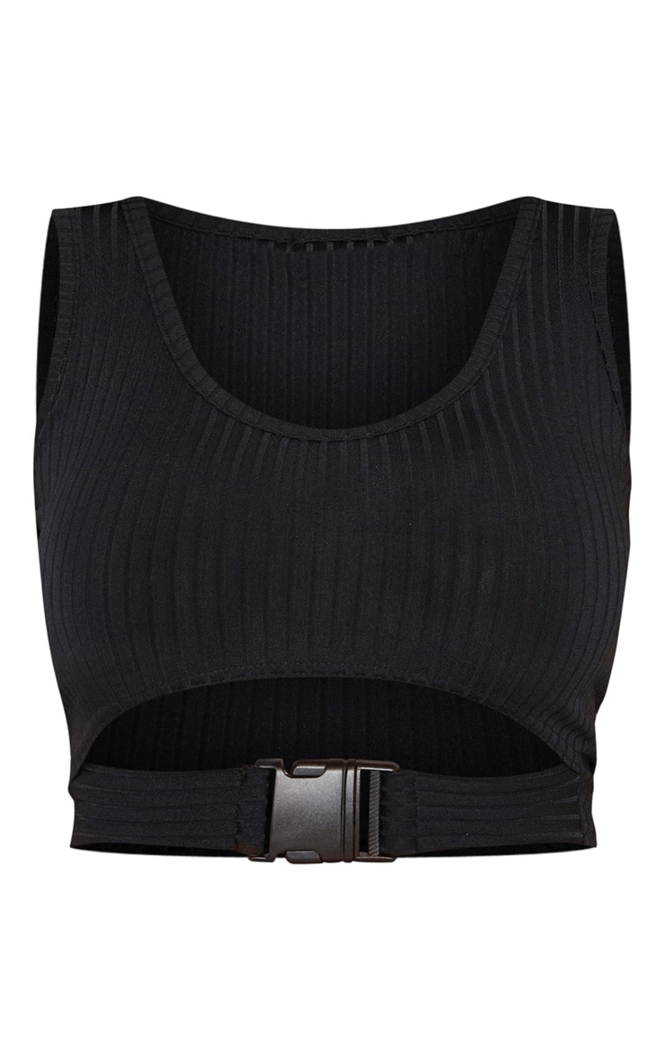 Shape Black Ribbed Buckle Waist Crop Top 3