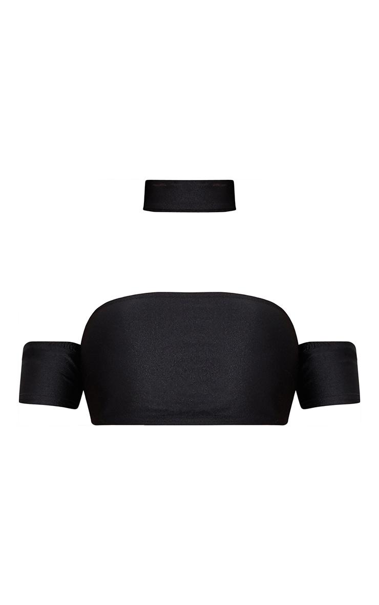 Shape Black Disco Slinky Choker Crop Top 3