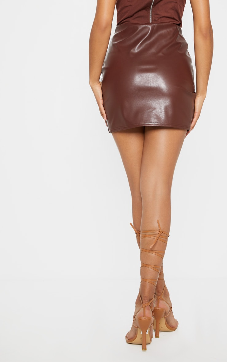 Chocolate Ruched Faux Leather Skirt 3