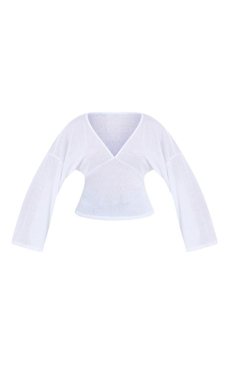 White Woven V Front Floaty Sleeve Blouse 5