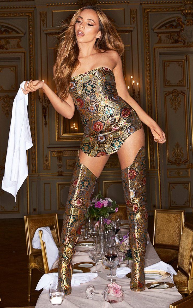 Gold Oriental Brocade Thigh High Boot 3