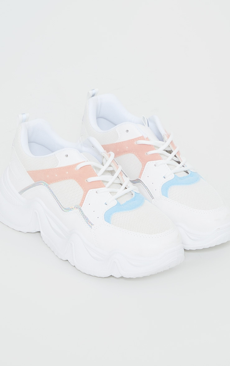 White Chunky Sole Mesh Panel Trainers 3