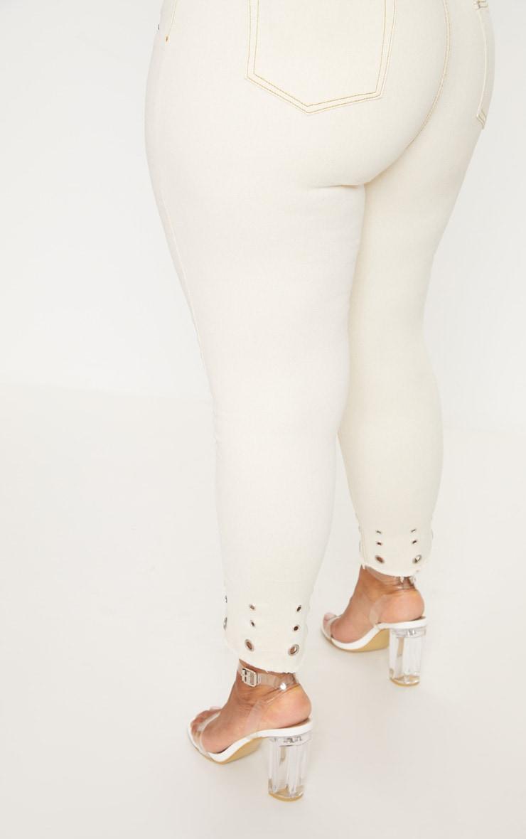 Plus Ecru Eyelet Hem 5 Pocket Skinny Jean 5