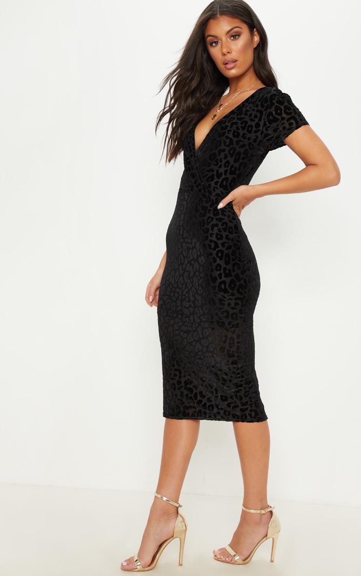 Black Burnout Leopard Print Wrap Front Midi Dress 2