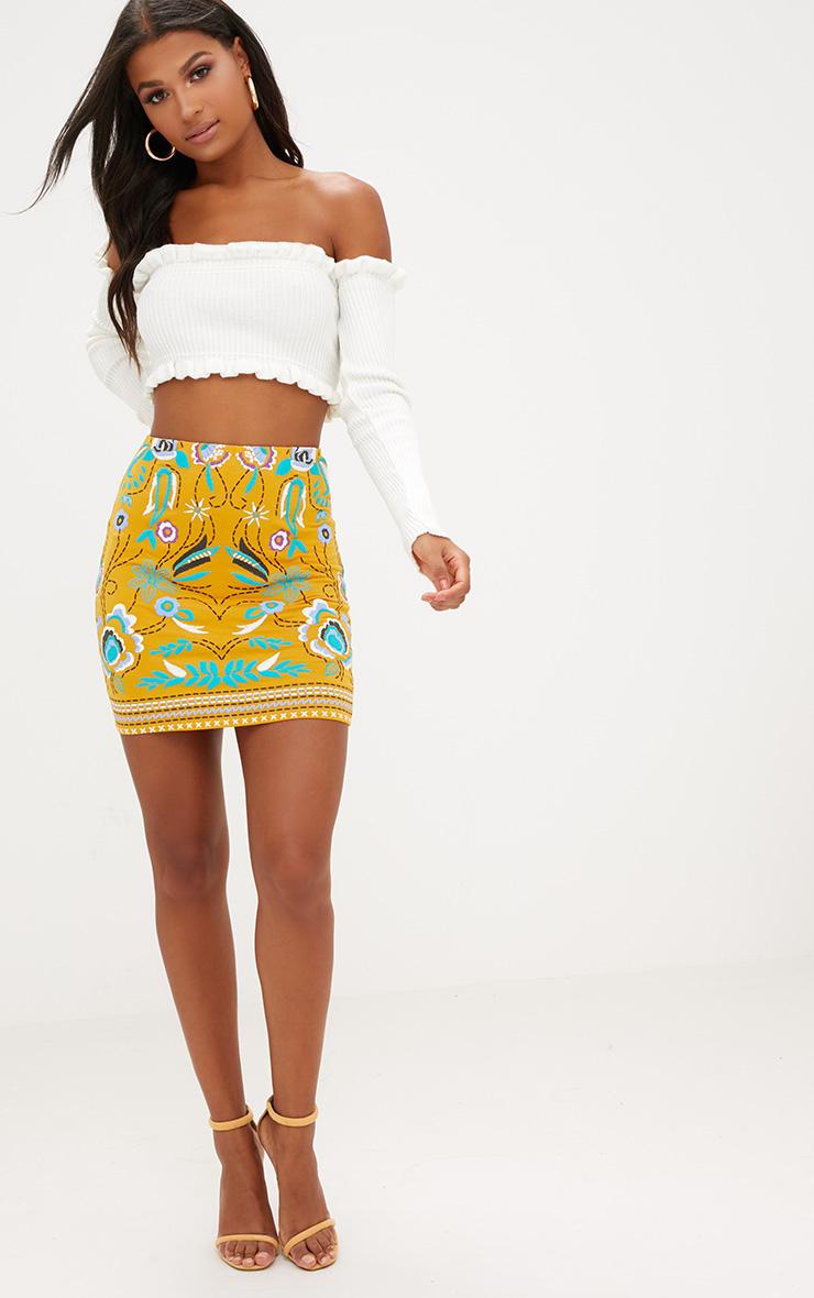 Mustard Floral Embroidery Print Mini Skirt 5