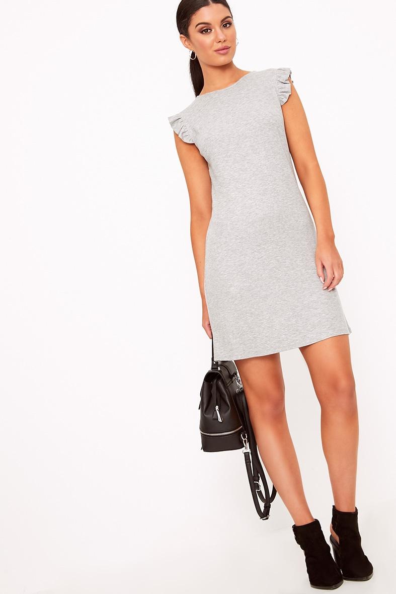 Grey Marl Jersey Sleeveless Frill Sleeve Shift Dress  4