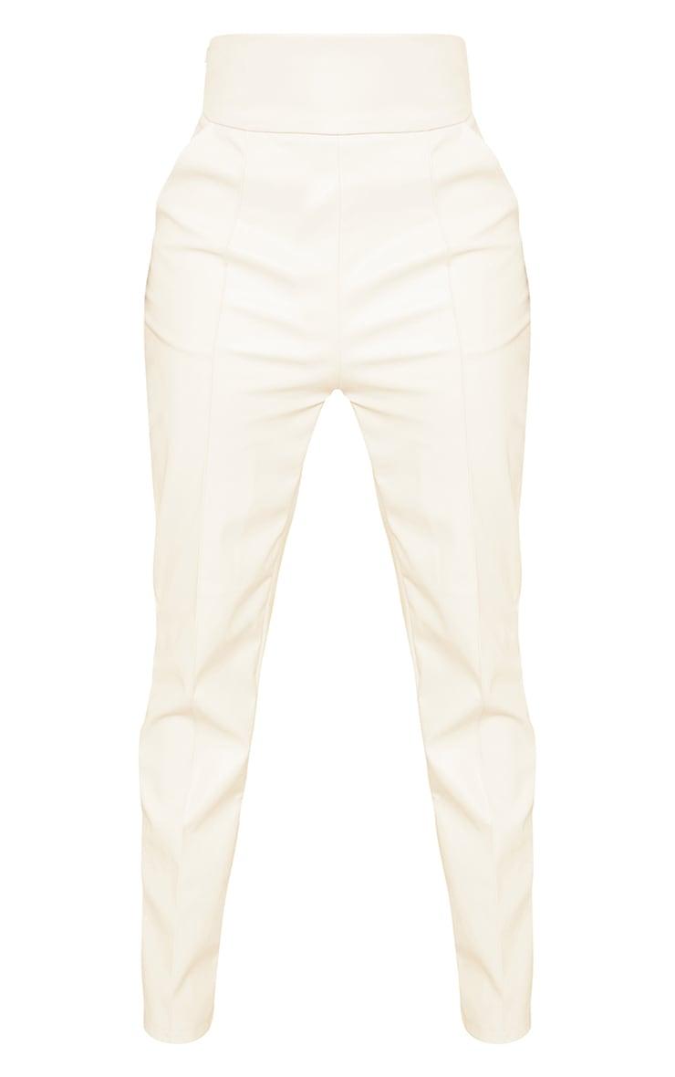 Tall Cream High Waisted Seam Detail PU Pants 5