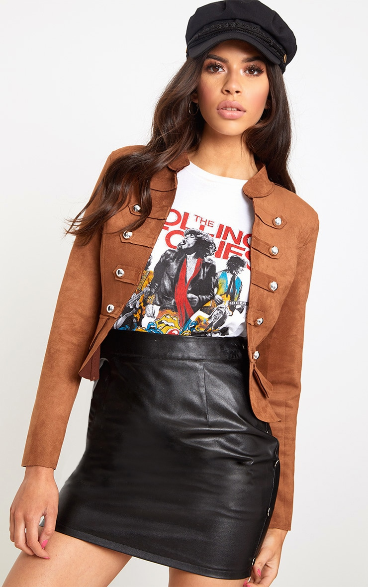 Tan Faux Suede Military Jacket 2