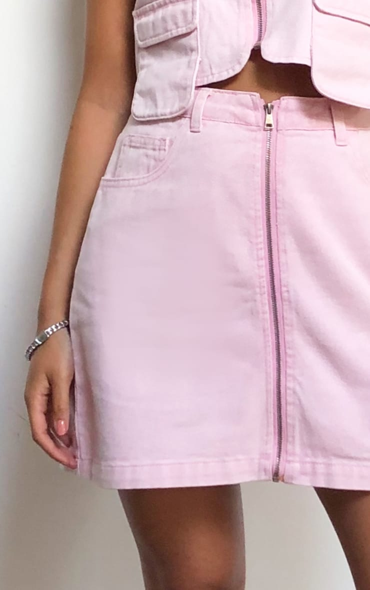 Washed Pink Denim Zip Skirt 5