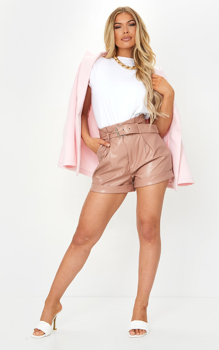 Dusty Pink Belted Faux Leather Turn Up Hem Shorts 3