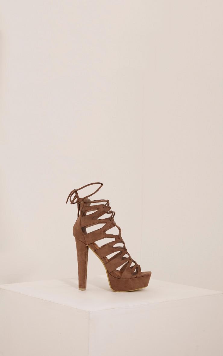 Vivianna Mocha Lace Up Platform Heels 6
