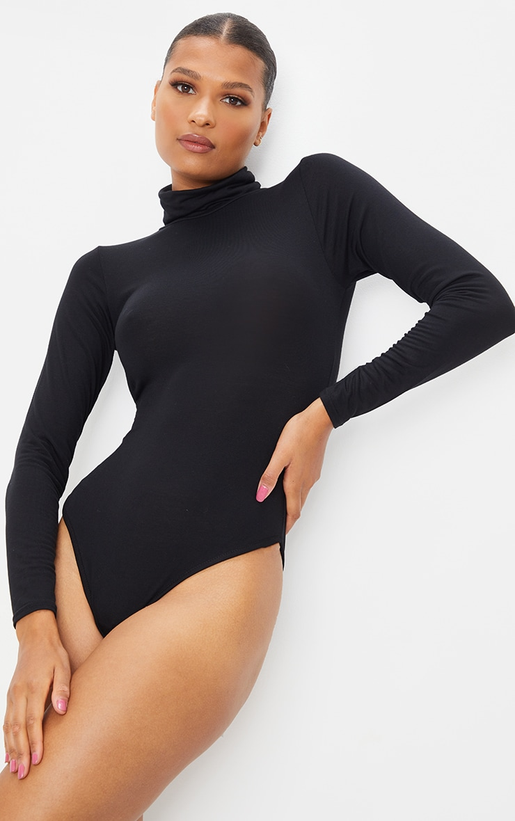 Basic Black & White 2 Pack Roll Neck Long Sleeved Bodysuit 2