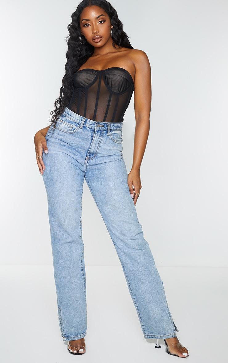 Black Mesh Corset Detail Bandeau Bodysuit 3