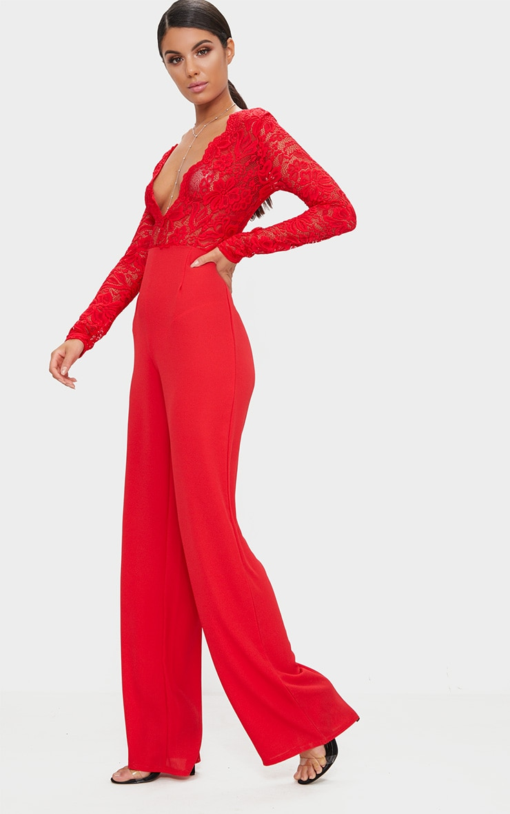 Red Lace Long Sleeve Plunge Jumpsuit 4