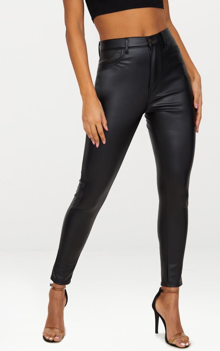 Jean skinny noir imitation cuir à bouton noir 2