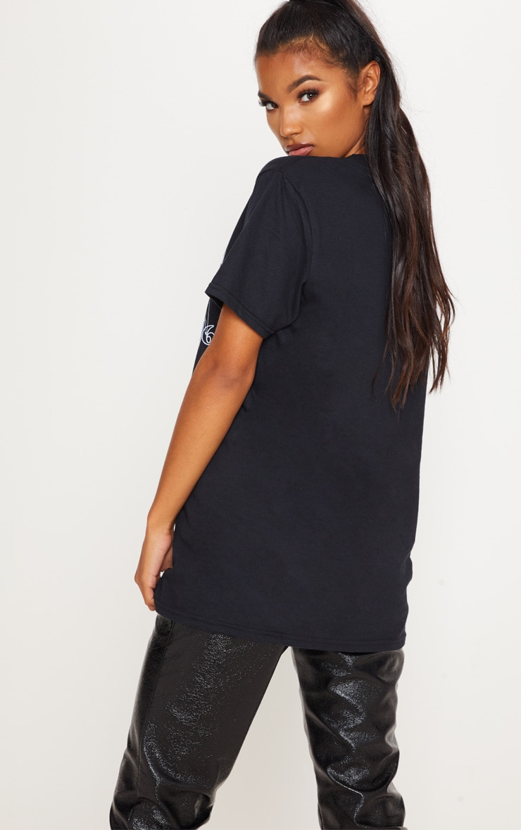 Black International Print Oversized Short Sleeve Tshirt 2