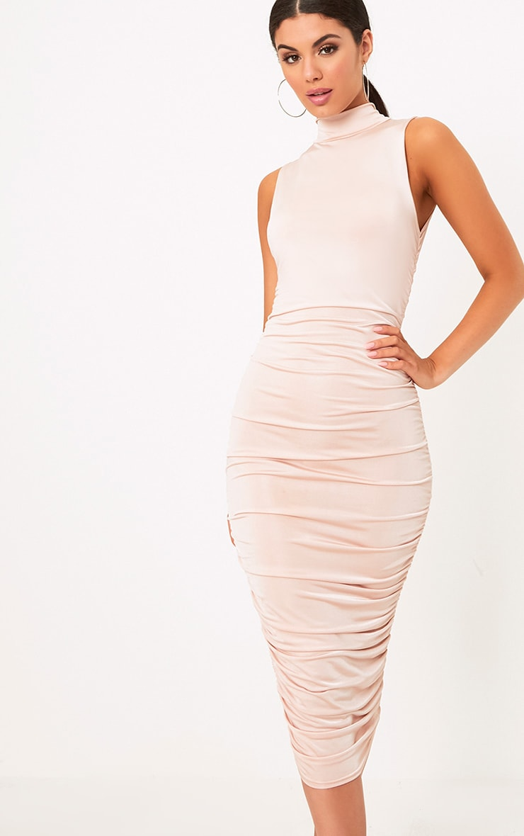 Nude Sleeveless Ruched Detail Midi Dress 1