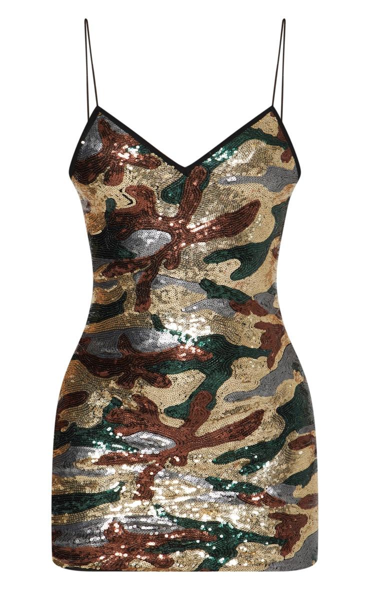 Khaki Camouflage Sequin Bodycon Dress 3