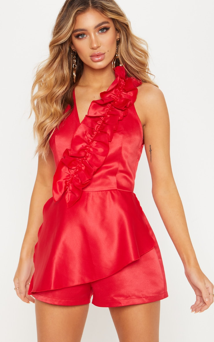 Red Satin Frill Front Playsuit