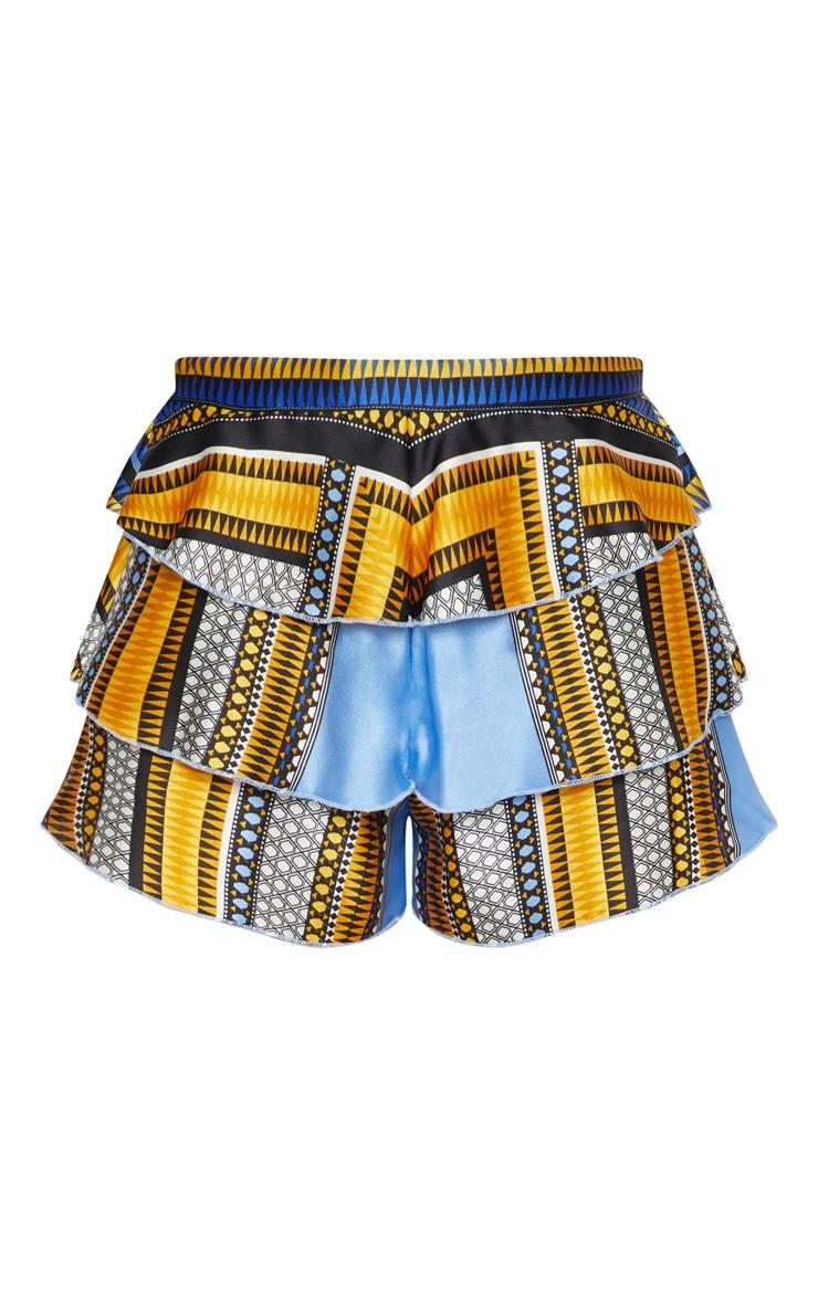 Petite Blue Satin Tribal Printed Frill Shorts 3