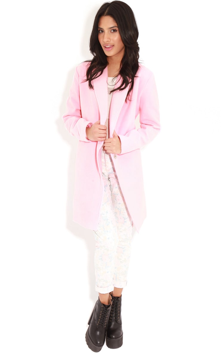 Taylor Pink Wool Cross Over Boyfriend Coat 3