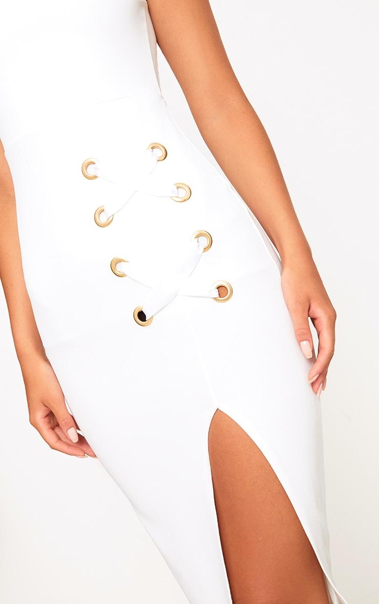 White Eyelet Satin Lace Up Detail Midi Dress 5