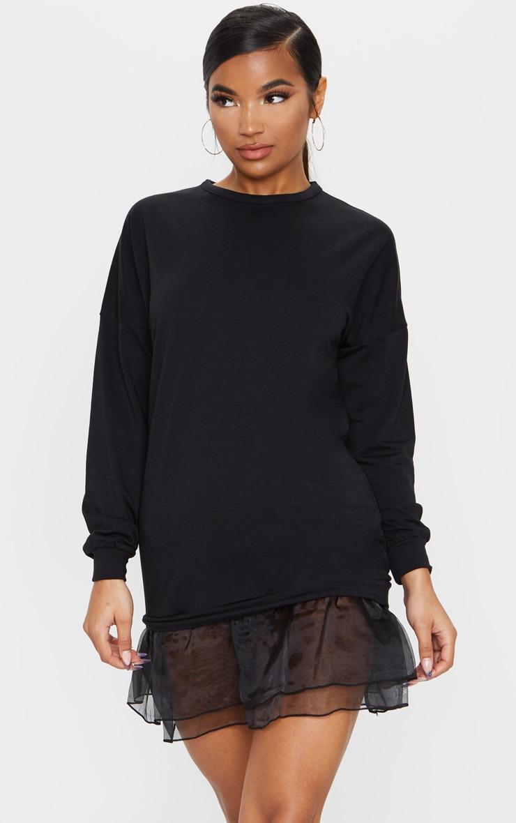 Black Long Sleeve Organza Hem Detail Jumper Dress 1