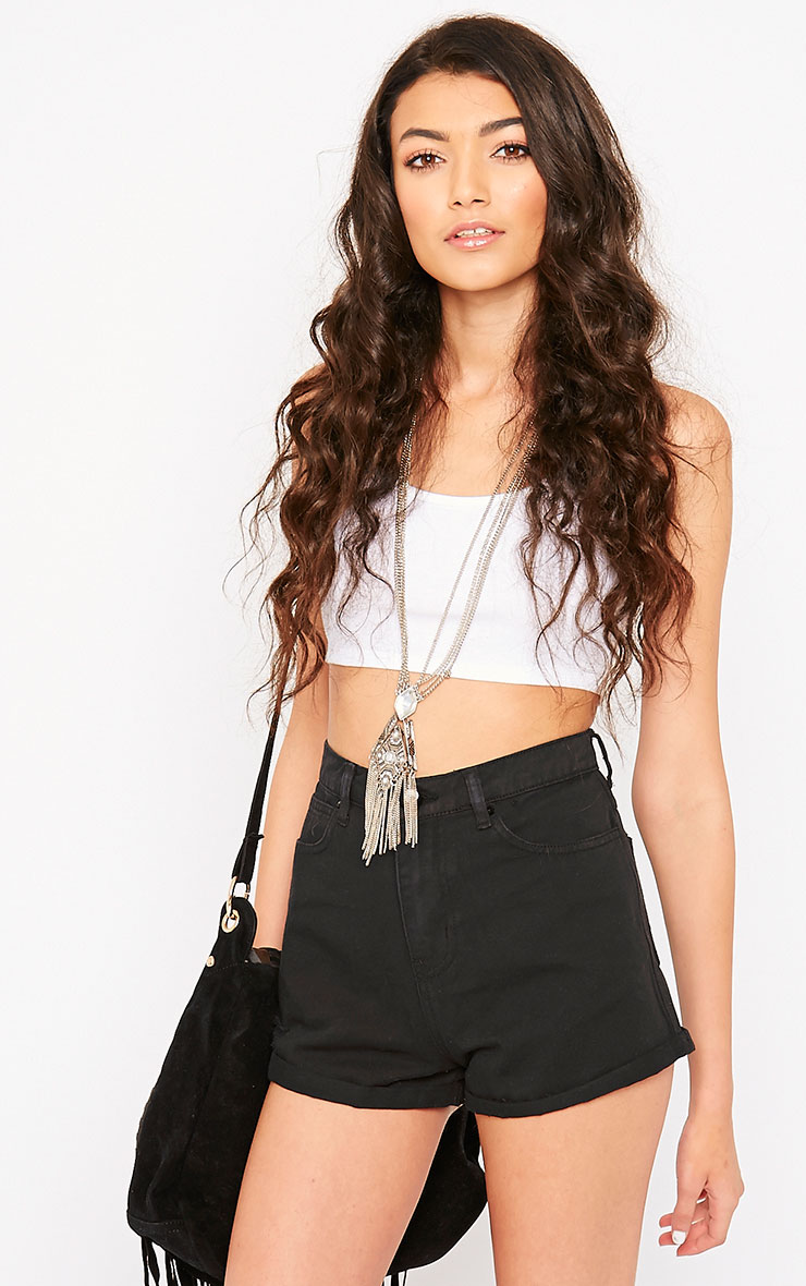 Maslynn Black Plain High Waisted Shorts 1