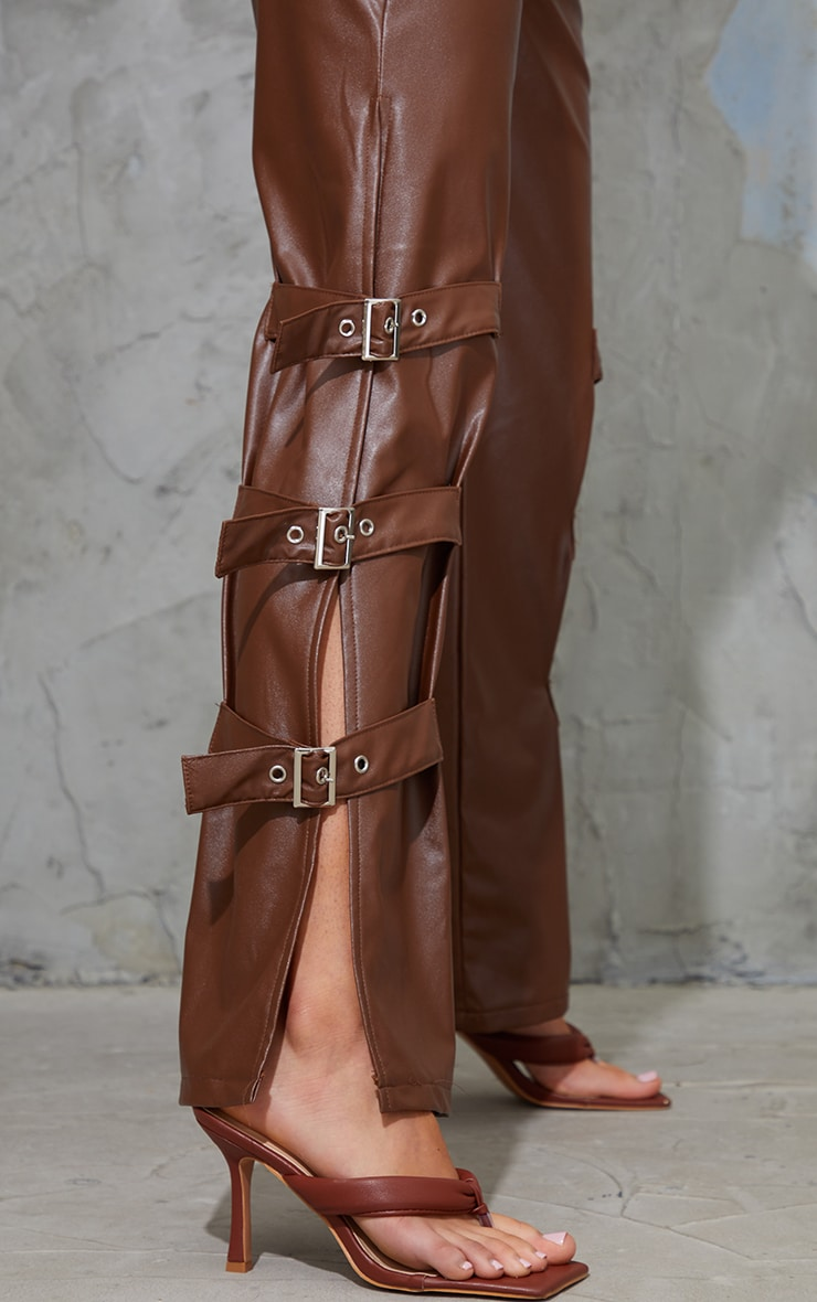 Chocolate Faux Leather Buckle Strap Detail Trousers 4