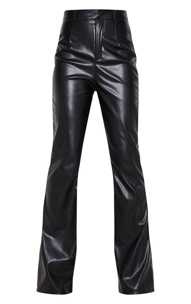 Black PU Flared Detail Trousers 3