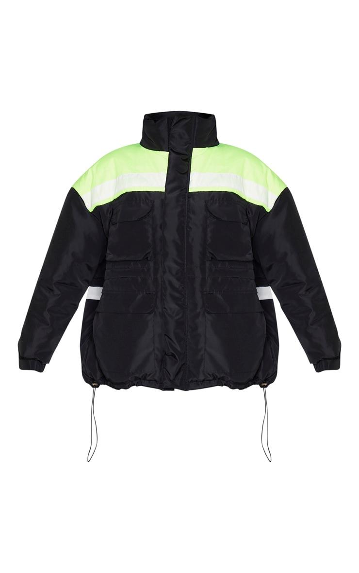 Black Padded Color Block Jacket 3